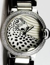 Cartier Pasha Leopard Dial Lady Steel Diamonds